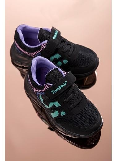 Tonny Black Siyah Su Yeşili Çocuk Spor Ayakkabı Tbz14  Siyah